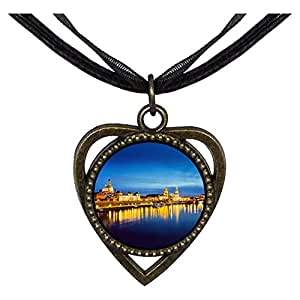 Chicforest Bronze Retro Style Travel Dresden Germany night view Heart Shaped Pendant