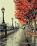 Colour Talk DIY Oil Painting, Paint by Number kit- Romantic Love Autumn 16x20 inch