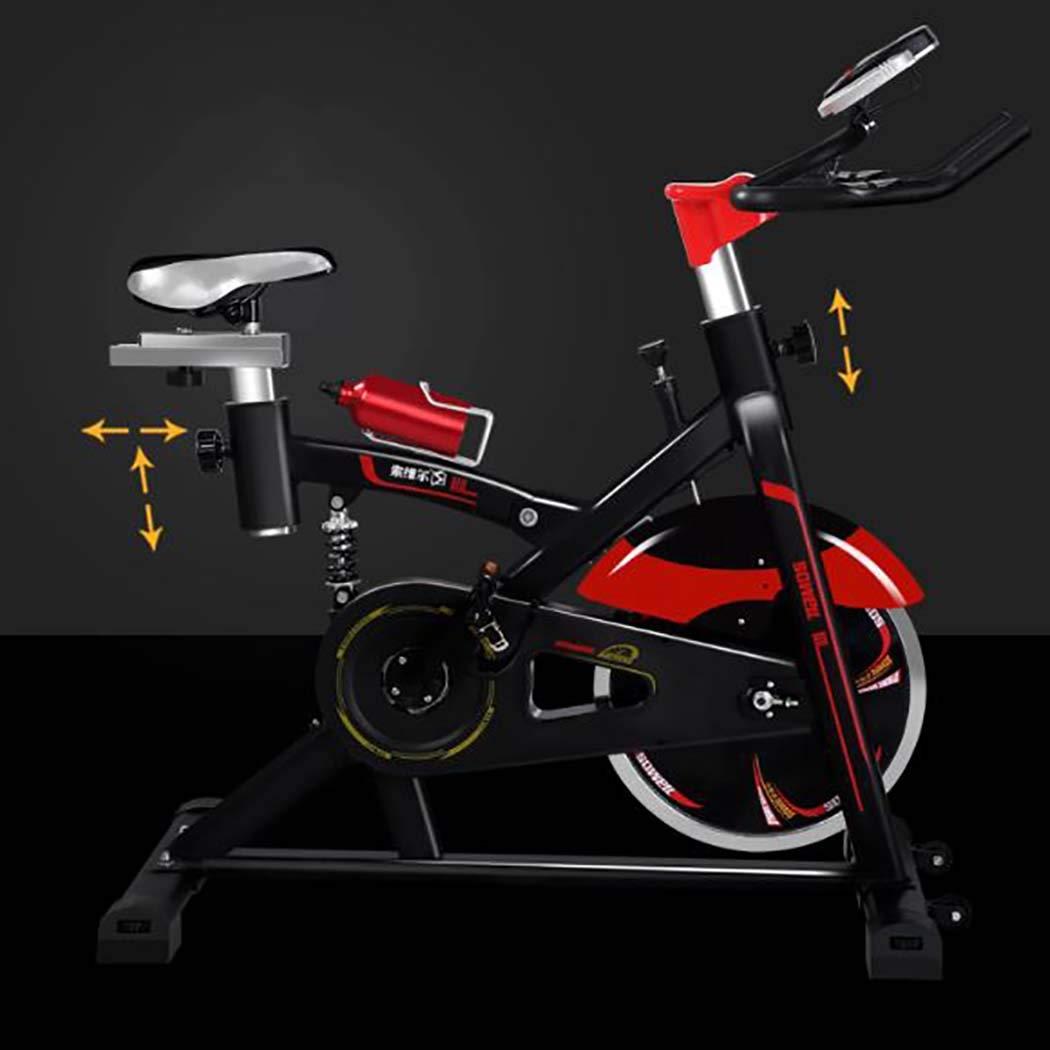 磁気静止バイク、モニター付きカーディオエクササイズ装置付きフライホイール心臓パルスセンサー付きLCDディスプレイ,赤 赤