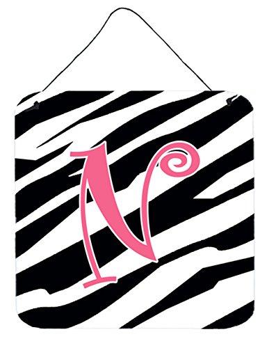 (Caroline's Treasures Letter N Initial Zebra Stripe and Pink Wall or Door Hanging Prints, 6 x 6, Multicolor)