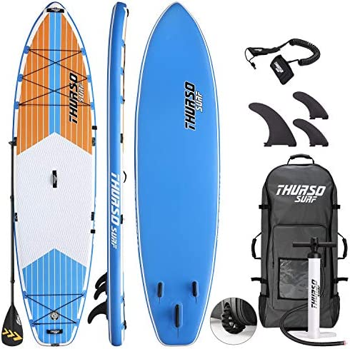 THURSO SURF Max Multi-Purpose Inflatable Stand Up Paddle Board SUP 11 6 x 34 x 6 Two Layer Deluxe Package Includes Carbon Shaft Paddle 2 1 Quick Lock Fins Leash Pump Roller Backpack