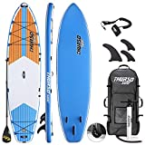 THURSO SURF Max Multi-Purpose Inflatable Stand Up Paddle Board SUP 11'6 x 34'' x 6'' Two Layer Deluxe Package Includes Carbon Shaft Paddle/2+1 Quick Lock Fins/Leash/Pump/Roller Backpack