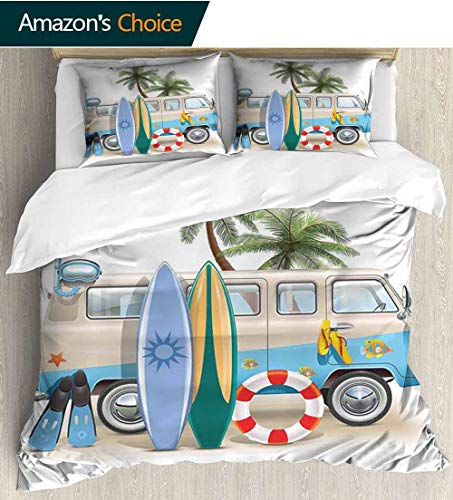 Surf Bedding Sets Duvet Cover Set,Surfing Weekend Concept with Diving Elements Fins Snorkeling and Van Trip Relax Peace Bedspreads Beach Theme Quilt Cover Children Comforter Cover 90