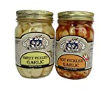 Amish Wedding Foods Hot / Sweet Pickled Garlic 2 -15 oz Jars One of Each Flavor