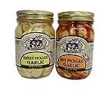 Amish Wedding Foods Hot / Sweet Pickled Garlic 2 -15 oz Jars One of Each Flavor