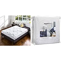 Zinus Memory Foam 8 Inch / Deluxe / Cloud-like Mattress, Twin with AmazonBasics Hypoallergenic Vinyl-Free Waterproof Mattress Protector, Twin