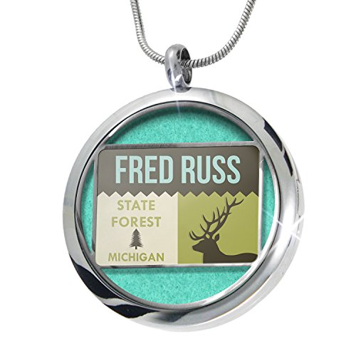 Neonblond National Us Forest Fred Russ State Forest Aromatherapy Essential Oil Diffuser Necklace Locket Pendant Jewelry Set