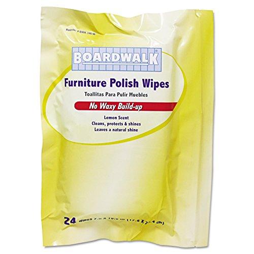 Boardwalk 346-W Furniture Polish Wipes, Lemon Scent, 10'' Length by 7'' Width (12 Packs of 24) by Boardwalk