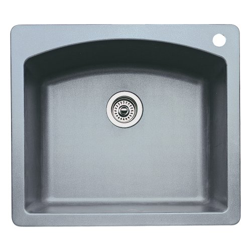 (Blanco 440209 Diamond Single-Basin Drop-In or Undermount Granite Kitchen Sink, Metallic Grey)