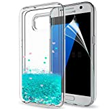 LeYi Galaxy S7 Edge Case with Screen Protector, Girl Women 3D Glitter Liquid Cute Personalised Clear Transparent Silicone Gel TPU Shockproof Phone Cover for Samsung Galaxy S7 Edge Turquoise