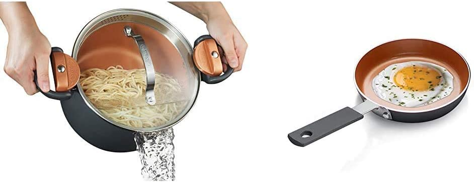 Gotham Steel 5 Quart Multipurpose Pasta Pot with Strainer Lid & Steel Mini Egg and Omelet Pan with Ultra Nonstick Titanium & Ceramic Coating - 5.5