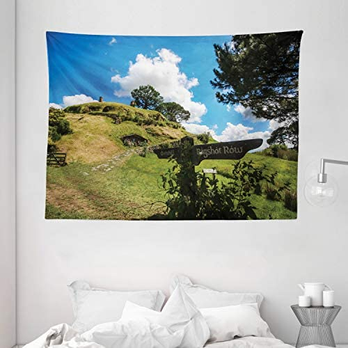 Ambesonne Hobbits Tapestry, Overhill Hobbit Village in Matamata New Zealand Fantasy Scene House Image Print, Wide Wall Hanging for Bedroom Living Room Dorm, 80 X 60 , Green Blue