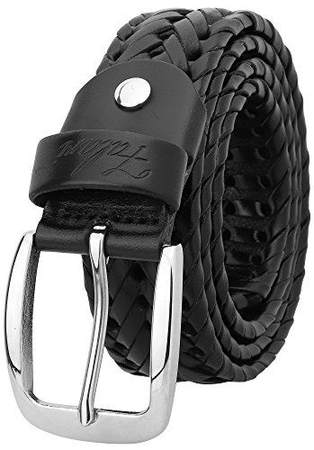 Falari Men's Braided Belt Leather Stainless Steel Buckle 35mm (9011 Black, L 38-40)