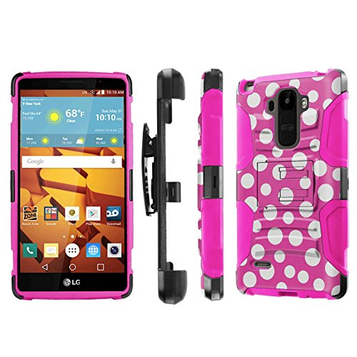 LG G Stylo [LS770 H631] Armor Case [NakedShield] [Black/Pink] Heavy Duty Armor [Holster with Kickstand] Phone Case - [Pink Dancing Polka Dot] for LG G Stylo LS770 -  NakedShield for LG G Stylo, P-LGLS770-1E7-BKHP-CBT-N192