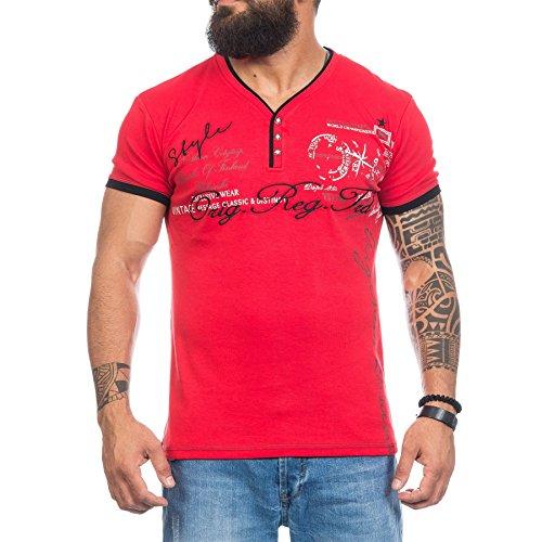 Un maglione da uomo, collo a v, motivo: stampa a maniche corte in cotone T Shirt Original Red L