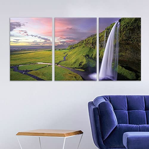 3 Panel Landscape Waterfall on The Cliff Grassland x 3 Panels