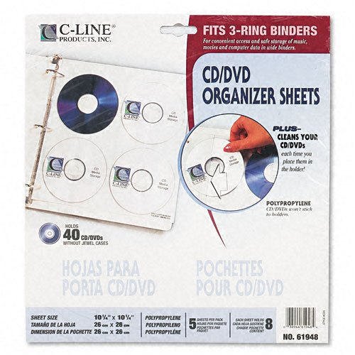 C-Line : Two-Sided CD/DVD Refill Pages for Ring Binder Kit CLI-61938, Five per Pack -:- Sold as 2 Packs of - 5 - / - Total of 10 Each