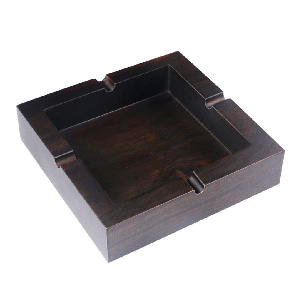 ZDD Retro Black Elm Ashtray/Creative Personality Home Practical Ashtray/Decoration Gift/Three Size Optional (Black) (Size : L14cmH3cm)