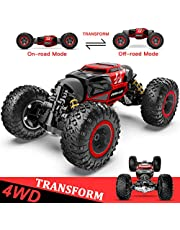 BEZGAR Toy Grade1:14 Scale Remote Control Crawler, 4WD Transform 15 Km/h All Terrains Electric Toy Stunt Cars RC Monster Vehicle Truck Car with Rechargeable Batteries for Boys Kids Teens and Adults…