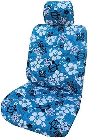 Set of 2 Winnie Fashion Black Big Honu Hawaiian Separate Headrest Car Seat Cover; Made in Hawaii