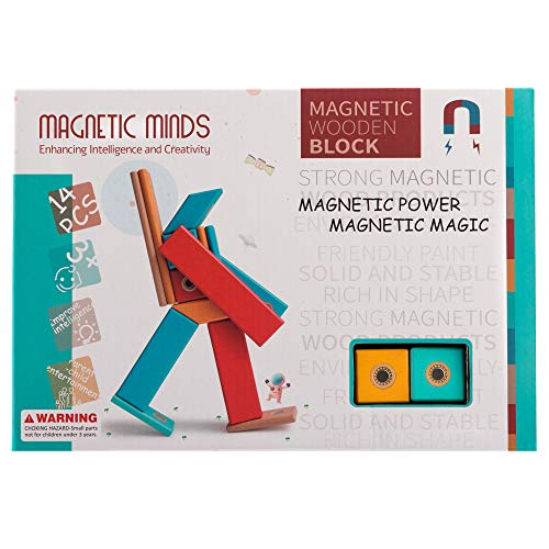Magnetic Minds Magnetic Wooden Block 14 Piece Set | Classic and Stylish Gift for Boys or Girls