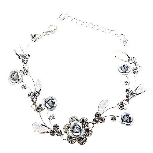 Faceted Metal Rhinestone - Women's Faceted Metal Rose & Crystal Rhinestone Mesh Leaf Bracelet Bridal Prom (Grey)