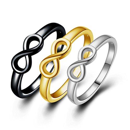 FENDINA Women's 18K Infinity Symbol Wedding Engagement Rings Sets 3-in-1 Best Friend Promise Rings Tarnish Resistant Plain wedding Bands - Set 3 Friend Of Best Necklaces