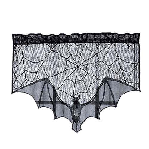 Hot Sale!DEESEE(TM)Black Spiderweb Fireplace Mantle Scarf Cover Tablecloth Halloween Party Decor ()