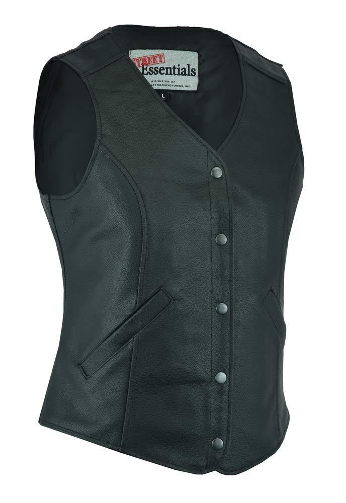 2XL Ladies Motorcycle Riding Stylish Longer Body 3//4 Leather Vest