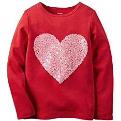 Carters Little Girls Valentines Day Red Heart Shirt With Pink Sequins (6x)