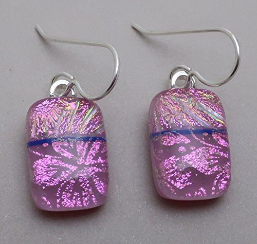 Modern Art magenta pink fused dichroic glass dangle earrings sterling silver ear wires ()