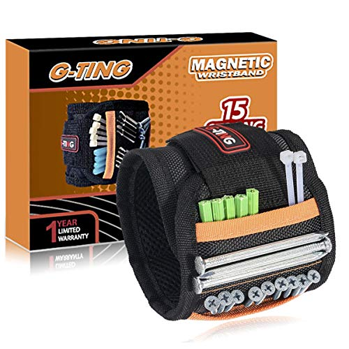 Magnetic Wristband, G-TING Adjustable Super Magnetic Wrist Band With 15 Strong Magnets for Holding Screws,Nails,Drill Bits Holding Tools,Bolts and Other Metal Tools.Unique Tool Gift for DIY (Black)