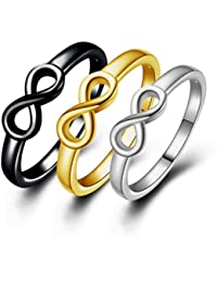 Women's 18K Gold Plated Infinity Symbol Wedding Engagement Rings Sets 3-in-1 Best Friend Promise Rings Tarnish Resistant Plain wedding Bands Ring