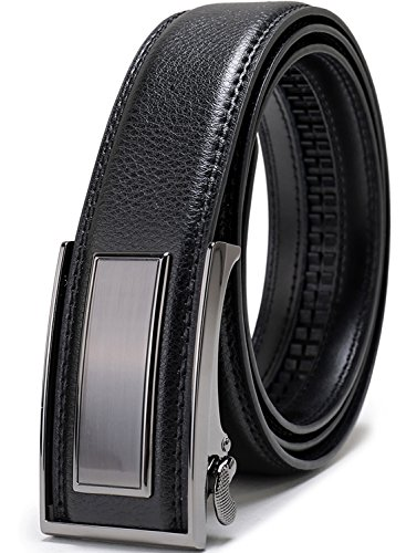 Beltox Fine Men's Dress Leather Ratchet Belt with Nickel-free Automatic Buckle (38-40, black gunmental) …