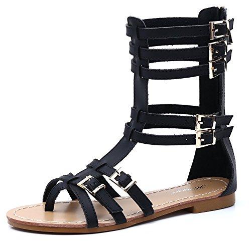 SEXYHER Mujeres cl¨¢sicas antiguas maneras de hacerlo es hueco de salida del clip del dedo del pie yardas grandes planas romanas Sandalias-SHOHE005 Negro