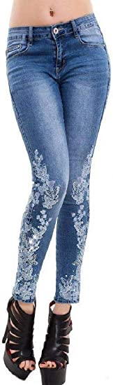 Tootess Women's Embroidered Leggings Denim Washed High Waist Slim Fit Skinny Jeans