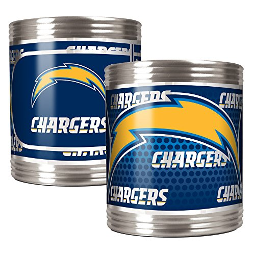 San Diego Chargers Stainless Steel - NFL San Diego Chargers Stainless Steel Can Holder with Hi-Definition Metallic Graphics Set (2-Piece), Silver