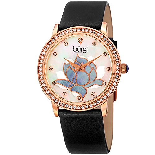 Burgi Women's Rose-Tone Case with Genuine Diamond Accented Butterfly Design Mother-of-Pearl Dial on White Leather Strap Watch ()