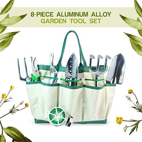 GardenHOME 8 Piece Aluminium Alloy Garden Tool Set with 6 Ergonomic Gardening Tools Set, Sizable Garden Tote Bag and 1 Roll of Plant Twist Ties