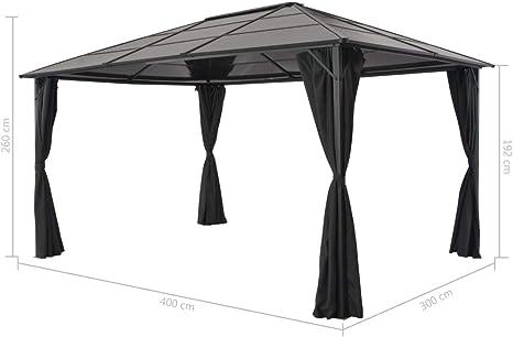 vidaXL Cenador Cortinas Jardín 4x3x2,6m Aluminio Negro Marquesina Carpa Toldo Pérgola: Amazon.es: Hogar
