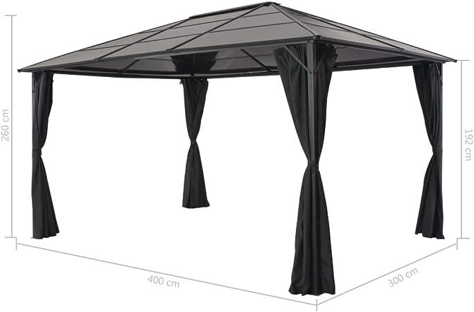 vidaXL Cenador Cortinas Jardín 4x3x2,6m Aluminio Negro Marquesina Carpa Toldo Pérgola
