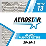 Aerostar Pleated Air Filter, MERV 13, 20x20x2, Pack of 6, Made in The USA