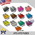 1-40 AMP ATC/ATO & MINI APM/ATM plus 5-30 AMP Slim Low Profile 32V Blade Style Fuses Short Circuit Protection Car Fuse plus 1 Fuse Puller LOT