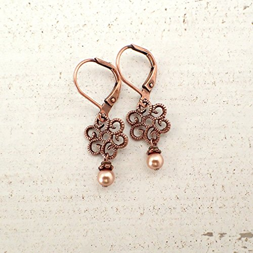 - Small Filigree Earrings with Copper Leverbacks and Swarovski Crystal Simulated Pearls