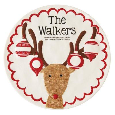 Santa Claus Lane Reindeer Personalized Round Platter