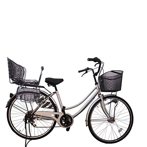 Lupinusルピナス 自転車 26インチ LP-266UA-KNR-B 軽快車 オートライト B073LLJF9F 品質保証 シルバー 後子乗せブラック シマノ外装6段ギア 送料無料カード決済可能