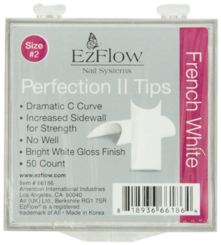EZ Flow Perfection Ii Tips, French White No.2, 50 ()
