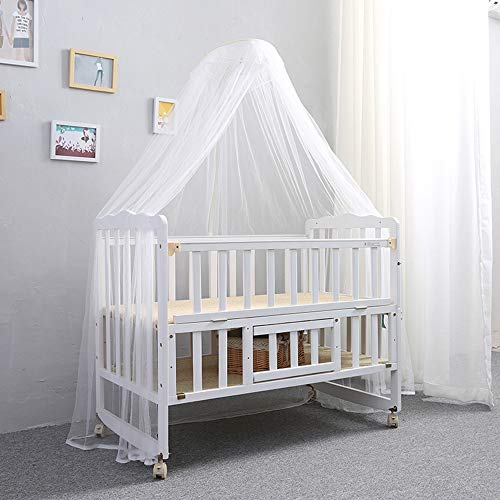 JYXZ White Solid Wood Baby cot Bed,Multifunctional Crib with Mosquito net,Cover Bumper Girl boy Topper Protector