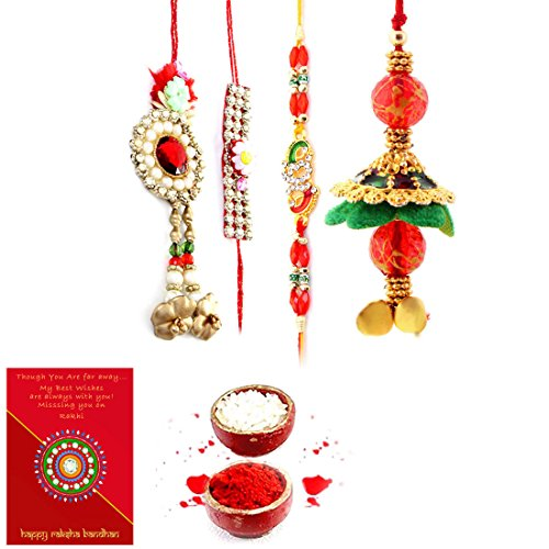 Priglobal PVT LTD | Rakhi for Brother | Jaipuri Handmade Ethnic Design Bhaiya Bhabhi Rakhi Gift Set