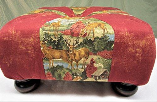 """18"""" Handmade Square Rustic Fall Cabin Deer Tuffet"""